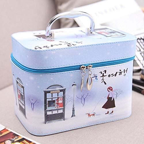 Huien cosmetische tas draagbare Koreaanse eenvoudig schattig meisje hart grote capaciteit opbergdoos cosmetische koffer draagbare make-up tas, grote sneeuwscène