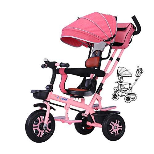 WENJIE Juguete De Regalo Sistema De Frenos Triciclo Kid Bike Balance Cochecito De Bebé Multifunción Suave Asiento Doble Pedal Infantil (Color : Pink)