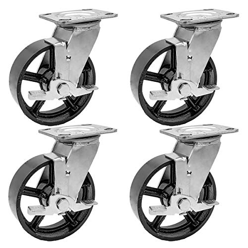FactorDuty 4 Pack 5' Vintage Caster Wheels Swivel Black Cast Iron Wheel Industrial 3600LB Overall Capacity Heavy Duty Casters with Locking Brake Rustic Retro Antique Cart Style Old Style