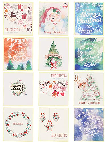 24 Pack Mini Christmas Greeting Cards & Envelopes, Cute Stweety Small Size 3.5'x 3.3' Merry Christmas Greeting Cards Festival Color, 2 for Each Pattern (White)