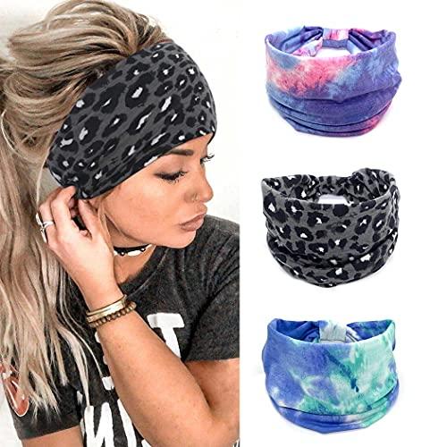 Yean Diademas para el pelo de leopardo de yoga con turbante con nudos para la cabeza de tela teñida para mujeres y niñas (paquete de 3)