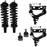 Detroit Axle - 6pc Front Lower Control Arm with Ball Joints + Complete Front Struts + Front Upper Ball Joint for Chevy Trailblazer and GMC Envoy Isuzu Ascender