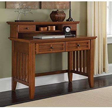 Home Styles Arts and Crafts Cottage Oak Student Desk and Hutch with Cable Access, Two Drawers, and Open Shelf