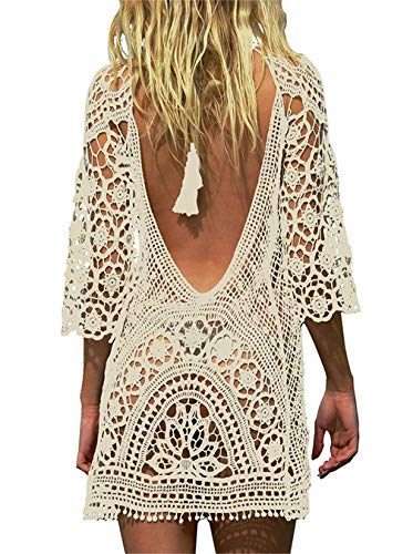 Paréo Femme Plage Mini Robes Grande Taille Tunique Pull Col V Kimono Bohême Mode Bikini Cover Up Crochet Blouse (One Size, Dos Nu Beige)