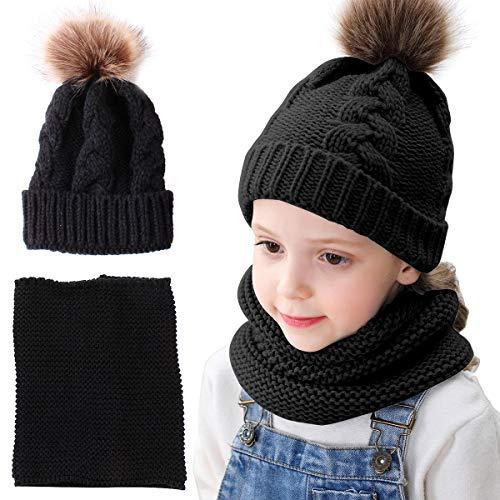 Tianhaik Kinder Mädchen Stricken Mütze Hüte Schal Set Winter Schnee Slouchy Pom Mütze warme Ski Hut Nackenwärmer