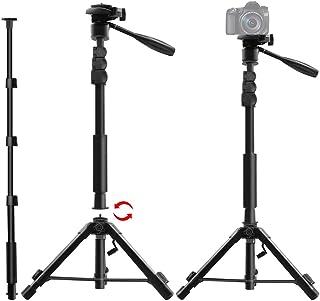 三脚 ビデオカメラ 一脚 自立 カメラ三脚 小型 軽量 カメラ三脚一脚 スタンド 可変式 3ウェイ自由雲台 360度回転可能 水準器 カメラ・スマホ対応 アルミ素材
