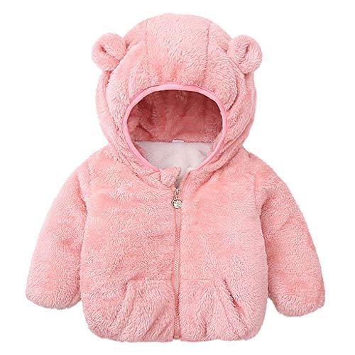 Wakeu Newborn Infant Baby Boys Girls Cartoon Fleece Hooded Jacket Coat with Ears Warm Outwear Coat Zipper Up
