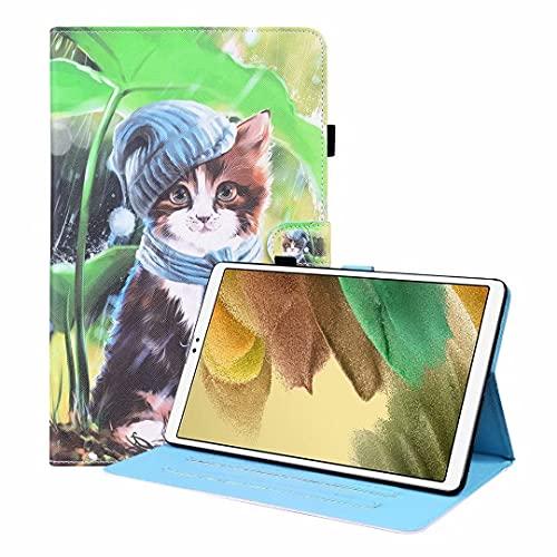 Funda para Samsung Galaxy Tab A 7 pulgadas SM-T280/T285 Tablet, a prueba de golpes, piel sintética, función de soporte de visualización multiángulo Folip Flip funda protectora babero gatito