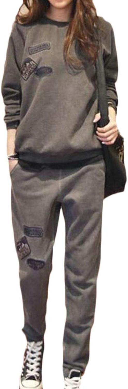 JSYCA Womens Fleece Activewear Autumn Patchwork 2 Pcs Tracksuits