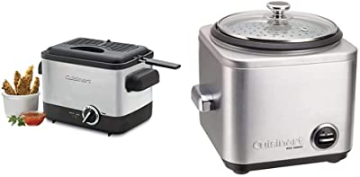 Cuisinart CDF-100 Compact 1.1-Liter Deep Fryer, Brushed Stainless Steel - Silver & CRC-400 Rice Cooker, 4-Cup, Silver