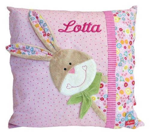 Sigikid Kinder-Kissen mit Ihrem Wunsch Namen in der abgebildeten Stickschrift Bestickt Bungee Bunny 42 cm x 42 cm mit Füllung Namenskissen (rosa)