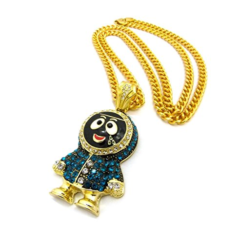 Shiny Jewelers USA Mens Iced Out Gold Silver Eskimo Pendant Box, Rope Cuban Link Chain Necklace (Gold Cuban Chain)