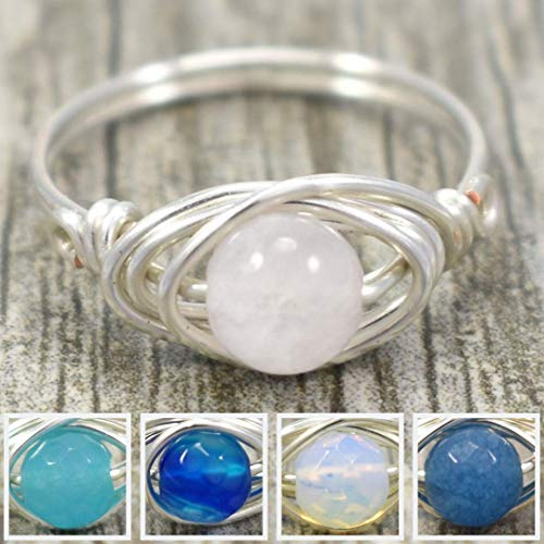 Custom Stone Choose Your Gemstone Wire Wrapped Silver Ring - lavender jade, blue jade, blue agate, opalite, angelite - choose from sizes 3-11
