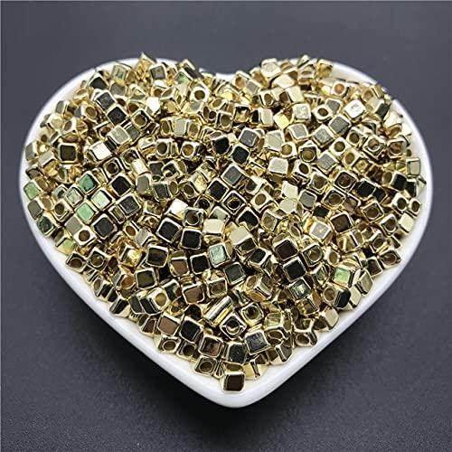 CHUNJ Cuentas Sueltas cuadradas chapadas en acrílico de 100 Piezas 4 mm para Collar de Pulsera de joyería