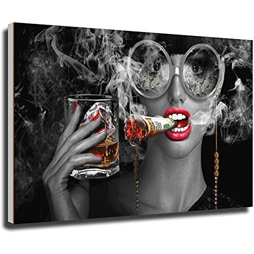 Tankaa Cuadro abstracto moderno sobre lienzo, diseño de chica con dinero fumando...