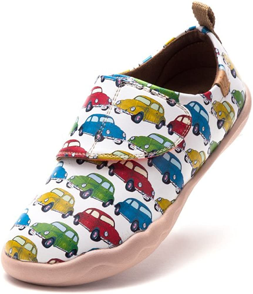UIN Kid's Mini Cars Painted Leather Shoe Multicolored