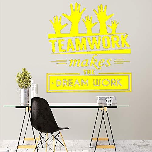 Ajcwhml Nuevo Trabajo en Equipo Cita Etiqueta de la Pared decoración Oficina decoración de la habitación Accesorios Apliques Mural Amarillo 30cm X 31cm