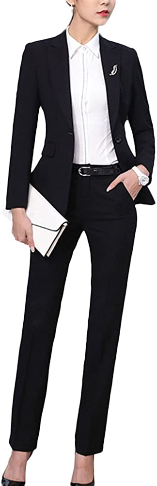 SK Studio Women's 2 Piece Slim Fit Business Suit Formal Blazer and Pants/Skirt Set