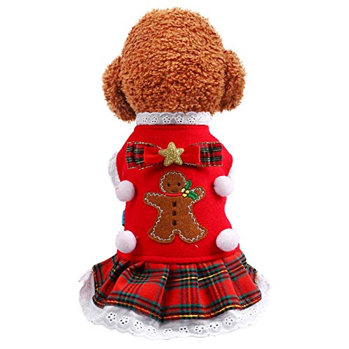 Hzb821zhup huisdier hond kat herfst winter nieuwe jaar kerst hond rok rode geruite rok winter huisdier strik kant jurk rok warme kerst kostuum, Eén maat, XS