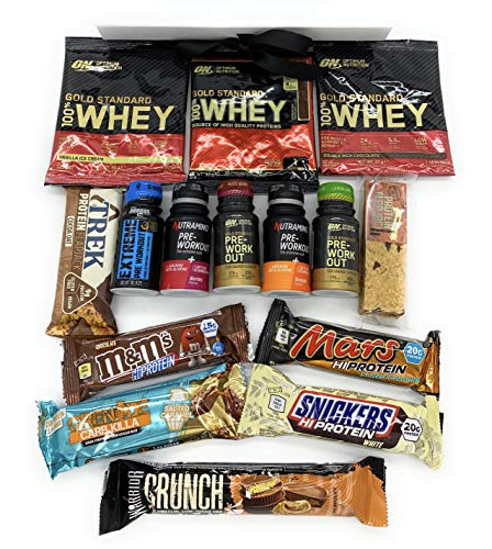 The Ultimate Protein / Workout Hamper Box - The Perfect Treat for Any Occasion (15 Piece Variety, Black)
