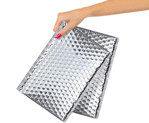 AMZ Pack of 100 Thermal Bubble Mailers 6.5 x 10.5. Metallic Padded Self Seal Envelopes 6 1/2 x 10 1/2. Cushion Food Mailers. Insulated Thermal Shipping Bags for Mailing, Packing. Wholesale Price