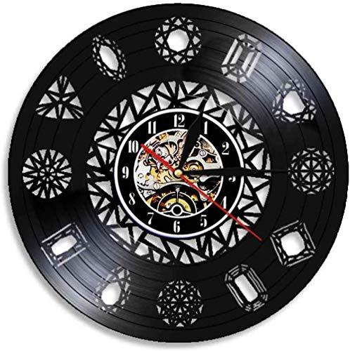 KDBWYC Disco de Vinilo Retro Forma de Anillo de Diamante Reloj de Pared de Vinilo DIY Reloj de Pared Sala de Estar Hecha a Mano decoración del hogar 12 Pulgadas (sin luz)