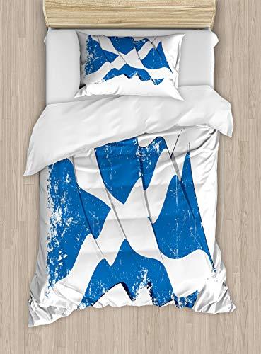 ABAKUHAUS Schotland Dekbedovertrekset, Zwaaien Scotch Flag Emblem, Decoratieve 2-delige Bedset met 1 siersloop, 130 cm x 200 cm, Cobalt Blue and White