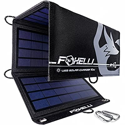 Foxelli Dual USB Solar Charger - Foldable Solar Panel Phone Charger for iPhone X, 8, 7, 6s, iPad & Android, Galaxy S8, S7, S6, S5, Edge & More, Portable Solar Power Charger for Camping & Outdoors