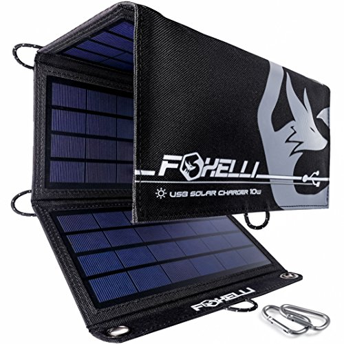 Foxelli Dual USB Solar Charger 10W - Portable Solar Panel Phone Charger for iPhone & Android Smartphones, iPads, Android Tablets, Power Banks & More,...