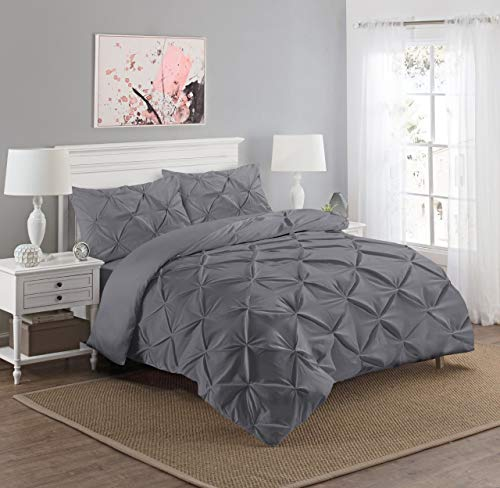 Luxury Diamond Pinch Pleated Pintuck Duvet Cover Set With Pillow Cases 100% Percale Egyptian Cotton Bedding Quilt Sets Single Double King Super King Sizes (Charcoal Grey, King)