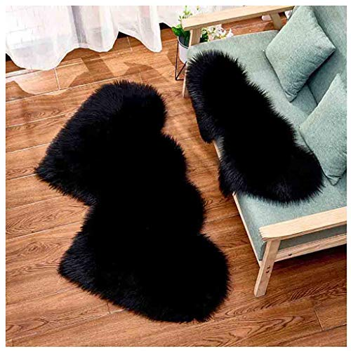 Flurries 💕 Two Hearts - Deluxe Soft Plush Faux Sheepskin Plain Area Rugs - Shaggy Chair Cover Couch Stool Seat Pad Mat Cushion Carpet Blanket - Home Decorator for Bedroom Sofa Floor (Black, S)