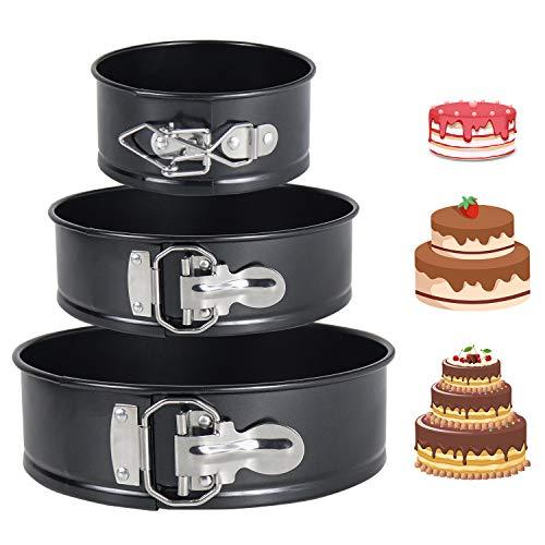 DMAIPUK Kuchenform Rund Inspiration Springform Cake Pans Runde Backform mit Flachboden Kuchenformen auslaufsicher, antihaftbeschichtet, 3 Größen Enthält 10.16cm/17.78cm/22.86cm