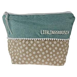 Beauty Bag Pastell türkis mit Name Kulturbeutel Kulturtasche Waschtasche Kosmetiktäschchen Schminktäschchen…