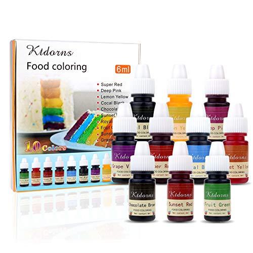 Colorant alimentaire Nourriture Dye Flo Nourriture Brosse à air liquide concentré - 10 couleurs