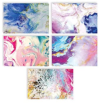 100-Pack All Occasion Greeting Cards Assorted Blank Note Cards 4 x 6 inch 5 Abstract Art Designs Blank Inside by Better Office Products with Envelopes 100 Pack