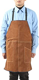 Leather Welding Apron for Men, Brown, 2Pockets, Good Waterproof Effect