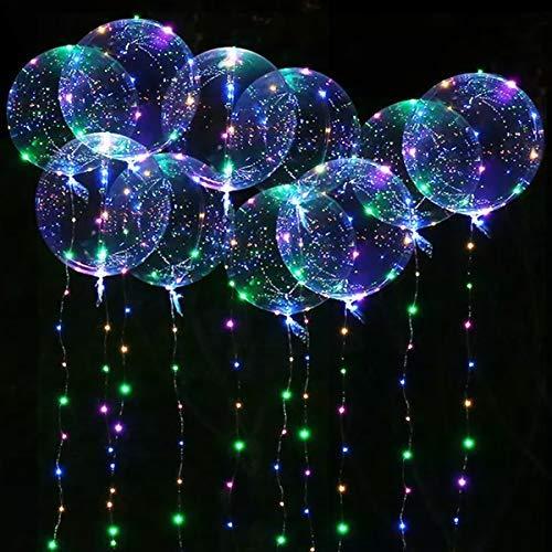 Seamuing LED Bobo Globos, 10 Piezas LED Light Up Globo Redondos con Transparente Globos de Burbujas Iluminado para Decoraciones de Fiesta, Bodas de Navidad (20 Pulgadas/Colorido)