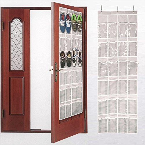 AOTUNO Over The Door Shoe Organizer - 24 Reinforced Pockets,64'' x 19''(Gray).