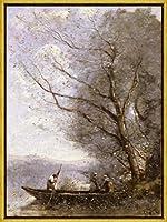 TIBB Jean Baptiste Camille Corot(The Ferryman)安全警告ビジネスコマーシャル レトロなスタイルの鉄板金壁ティンサインリビングプラークポスターノスタルジックなアート装飾8X12インチ