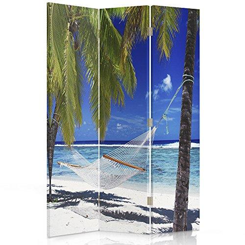 Feeby Frames Paravent déco Impression 1 Face 3 Panneaux Palmier Bleu 110x150 cm