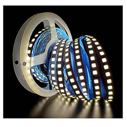 Tesfish Tiras de luz LED 24V, Blanco Natural 4000K 5M Tiras LED 5054 IP20 120 LEDs/M 600 LEDs en Total Súper Brillante Tiras de Luces LED para Dormitorio,...