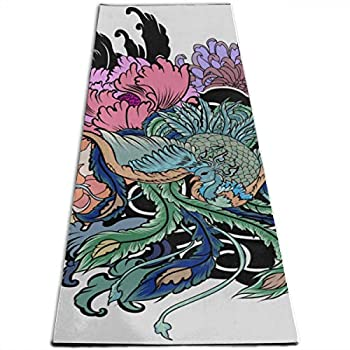 Exercise Mat For Kids Traditional Japanese Peacock Tattoo Peacock Peony Personalized Printing ThickNon-slip Anti-tear High Density Lightweight With Carrying Strap Storage Pockets Bedroom Exercise Mat