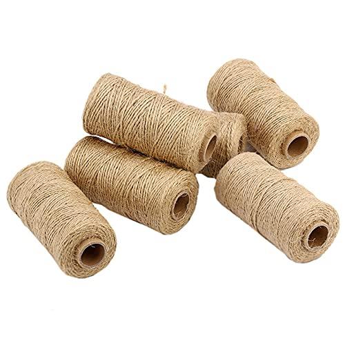 Cordel de yute de 1,5 mm, 2 capas de cuerda de yute de hilo fino natural de 200 m ,para Bricolaje Gato Rascarse, decoración de manualidades de jardinería.