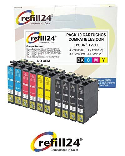 T29XL Cartuchos de Tinta, 10 Multipack Reemplazo para Epson 29 Compatible con Epson Expression Home XP-432 XP-435 XP-442 XP-445 XP-452 XP-332 XP-342 XP-345 XP-352 XP-355 XP-235 XP-245 XP-247