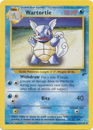 Pokemon - Wartortle (63) - Base Set 2