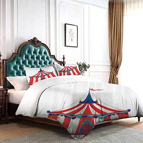 Hiiiman Duvet Cover Set Colorful Striped Circus Marquee Tent with Stars Flag Carnival Performance Illustration Queen Size W90 INCH x L90 INCH with 2 Pillow Sham
