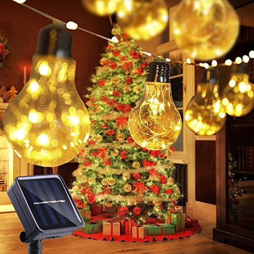 Cadena Solar de Luces,STLOVe 26ft Cadena de Bombillas 20 Bulb Impermeable Guirnalda Luces Exterior para Decoración Jardines Casas