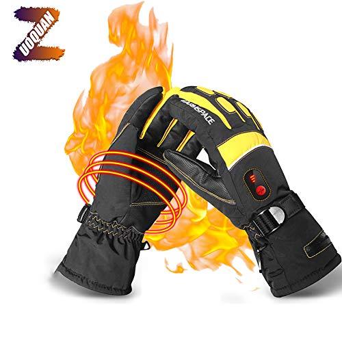 ZUOQUAN Winter Beheizbare Handschuhe 5 Stufen Temperaturregelung Handwärmer Touchscreen Thermohandschuhe, Tragbarer Und Leichter Für Skifahren Radfahren Reiten Jagd Angeln,Gelb,M