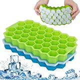 Fxexblin Ice Cube Trays, 2 Pack 74 Cubes Silicone Ice Trays with Removable