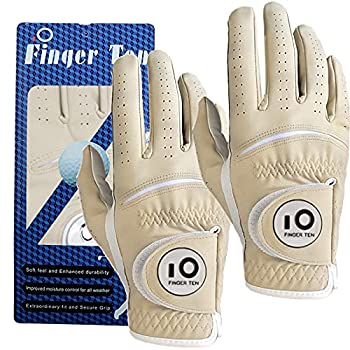 Golf Gloves Men Left Right Hand with Ball Marker Leather Rain Hot Wet Grip Value 2 Pack White Blue Red Brown All Weather Fit in Size Small Medium ML Large XL  Brown with Ball Marker Medium Right